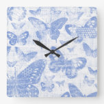 shabby chic baby blue butterflies pattern,shabby c square wall clock