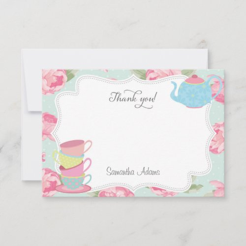 Shabby Chic Tea Party Thank You Card