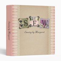 Shabby chic vintage sewing crafts binder | Zazzle
