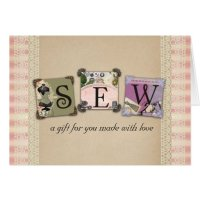 Shabby chic vintage sewing crafts gift cards | Zazzle