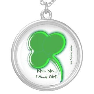 Shamrock 'Kiss Me - I'm a Girl' Necklace necklace