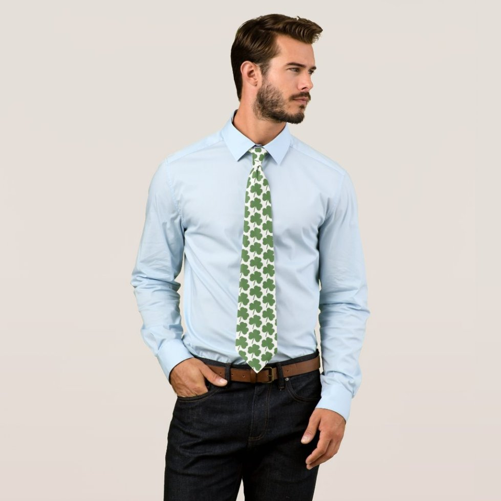 Shamrock St Patricks Day Neck Tie