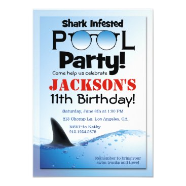 Shark Pool Party Swimming Birthday Invitation