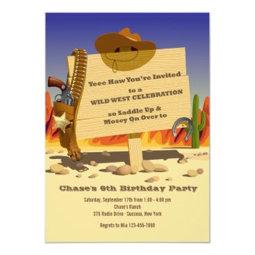 Sheriff's Holster Western Birthday Party Invitatio Card