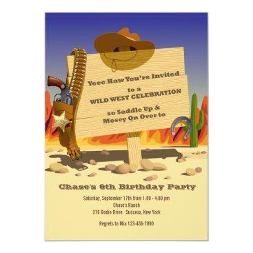 Sheriff's Holster Western Birthday Party Invitatio Invitation