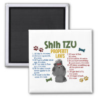 Shih Tzu Property Laws 4 Fridge Magnets