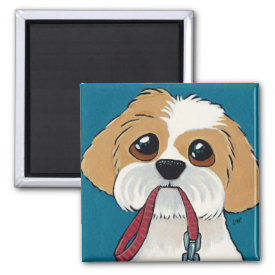 Shih Tzu Puppy on Blue Dog Art Magnet