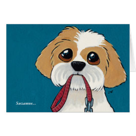 Shih Tzu Puppy with Lead | Thank You Card