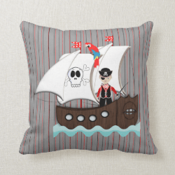 Ship Ahoy Matey Kids Pirate Theme Pillow