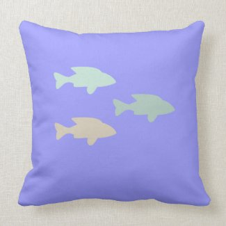 Shoal of fish in blue MoJo Pillow throwpillow