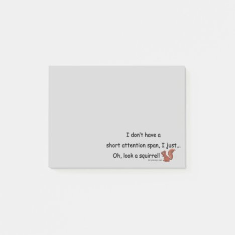 Short Attention Span Squirrel Gray Post-it Notes