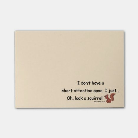 Short Attention Span Squirrel Post-it Notes