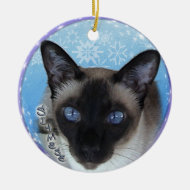 SIAMESE CAT -STRIKING BLUE EYES Christmas Ornament