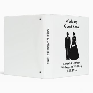 Silhouette Couple Wedding Guest Book Vinyl Binders