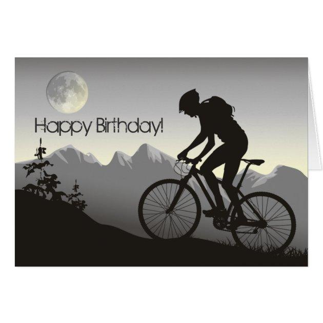 Silhouette Mountain Bike Happy Birthday Card Zazzle
