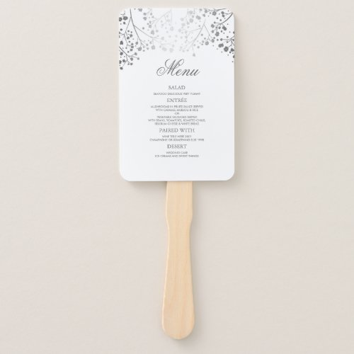 Silver and White Wedding Menus Hand Fan