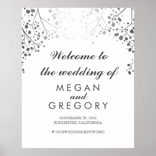 Silver Baby&#39&#x3B;s Breath Wedding Welcome Sign Plum