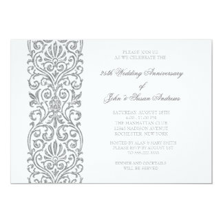 Rustic Fl 25th Wedding Anniversary Invitation