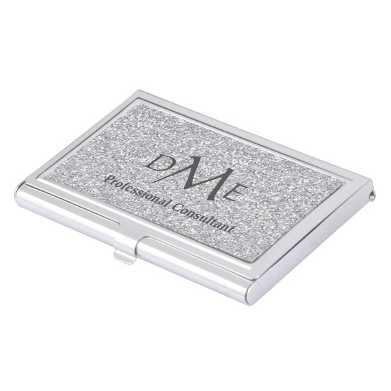 Silver Faux Glitter Professional Monogram Business Card Holder