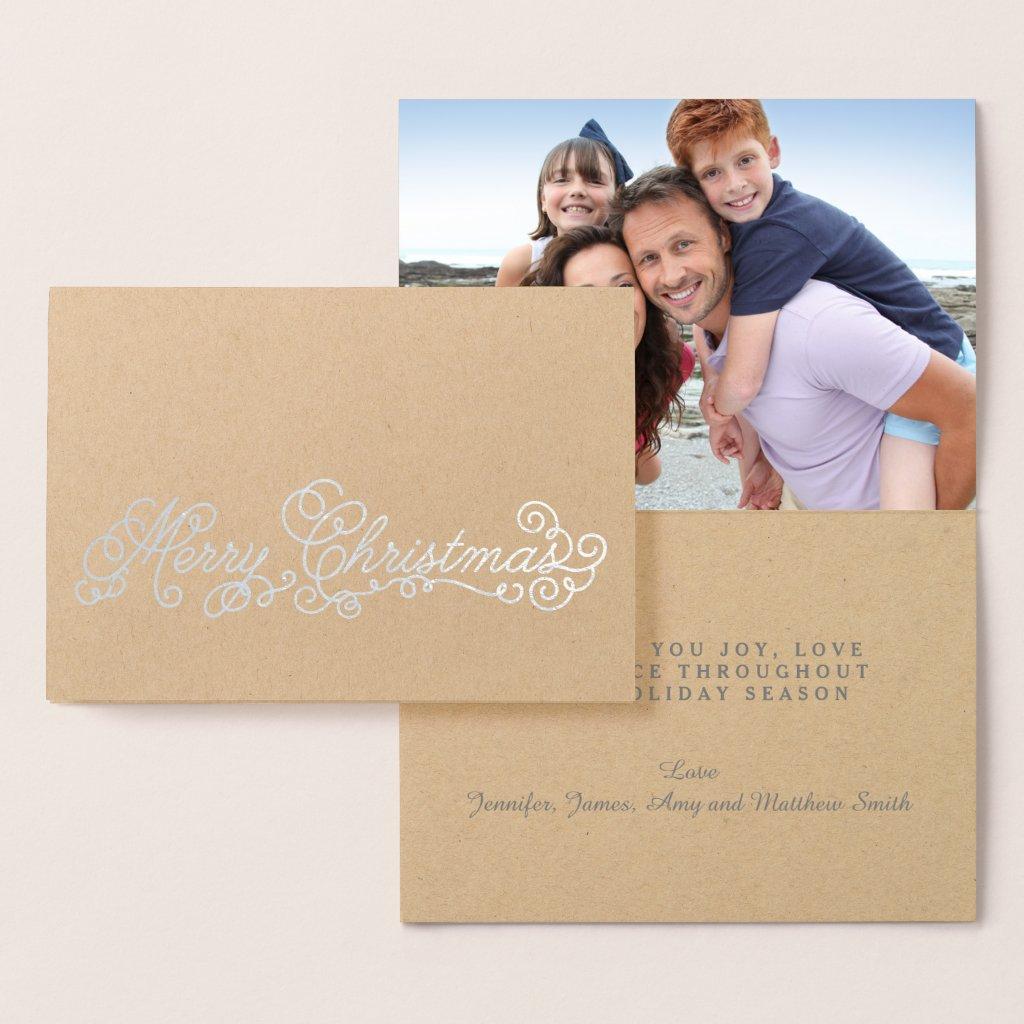 Silver Foil Elegant Script Merry Christmas Photo Foil Card