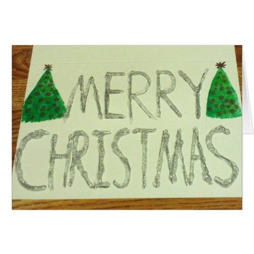 Silver Glitter Christmas Card card