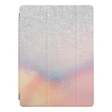 Silver Glitter Iridescent Holographic Gradient iPad Pro Cover