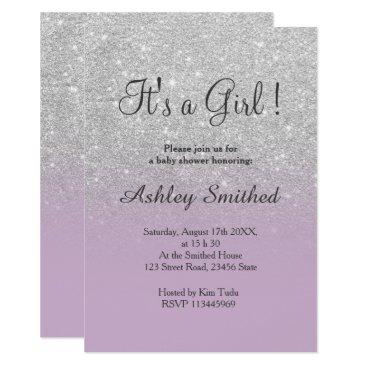 Silver glitter purple ombre girl baby shower card
