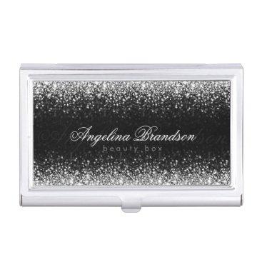Silver Glitter Star Rain Beauty Expert Card Holder