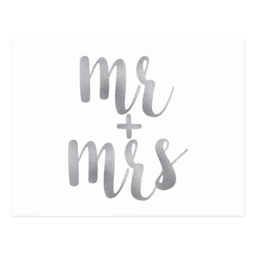 Silver mr. & mrs. postcards, foil font postcard