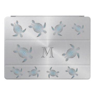 Silver Sea Turtles  Monogram iPad Pro Cover