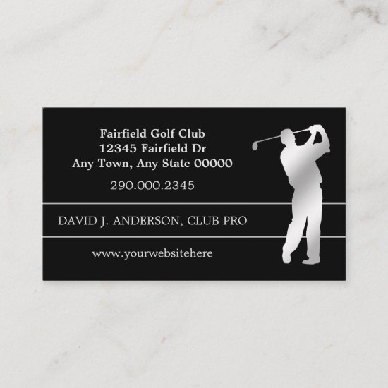 Silver Silhouette Golfer on Black Business Card