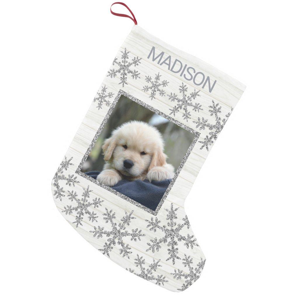 Silver Snowflake Fun Kids Or Pets Photo Small Christmas Stocking