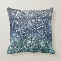 Silver Teal Blue Glitter Look Throw Pillow | Zazzle