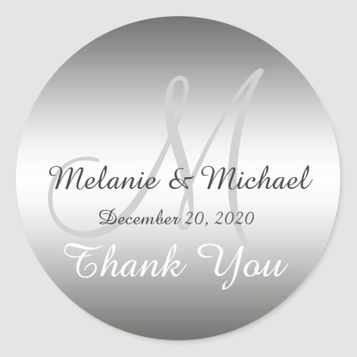 Silver Thank You Wedding Monogram Sticker