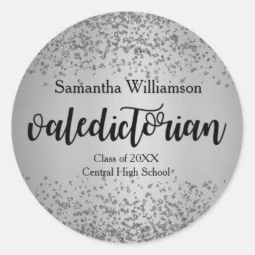 Silver Valedictorian Personalized Gold Sticker