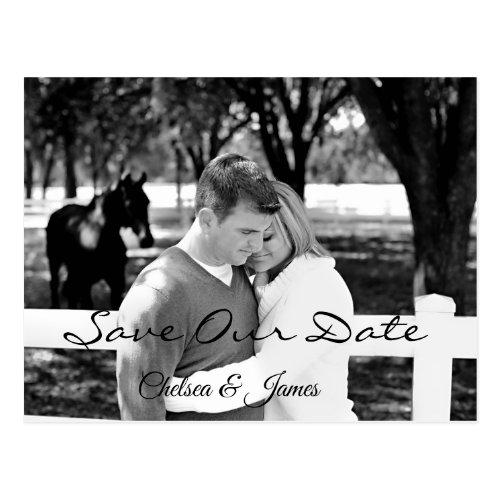 Simple  Black &amp&#x3B; White Photo Save the Date Postcard