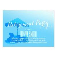 Simple Blue Beach Chair Retirement Party 5x7 Paper ...