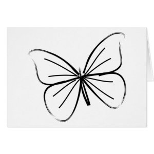 butterfly drawing simple line card greeting zazzle