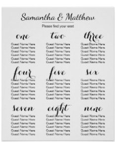 Simple  chic wedding seating chart also charts zazzle rh