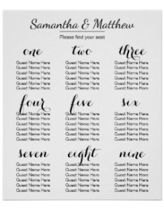 Simple  amp chic wedding seating chart also gaea stationery designs collections on zazzle rh