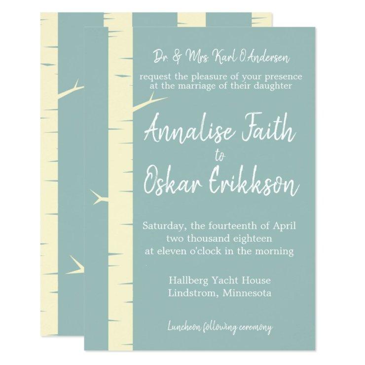 Simple Eggshell Blue Birch Wedding Invitation