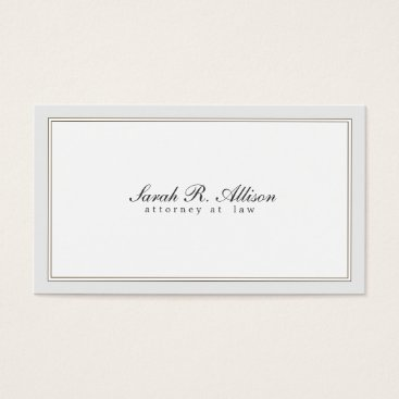 Simple Elegant Attorney White with Border Business Card