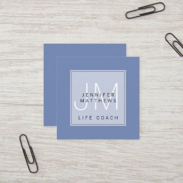 Simple Elegant Minimal Chic Monogram Life Coach Square Business Card