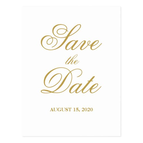 Simple elegant white & gold wedding Save the Date Postcard