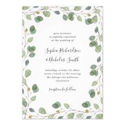 Simple Eucalyptus Greenery Border Wedding Invitation Zazzle com
