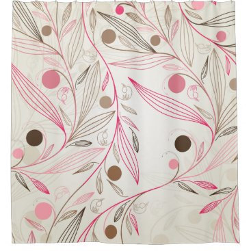 Simple Floral Patterns - Pink, Cream, Brown, Beige Shower Curtain