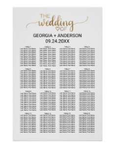 Simple gold calligraphy wedding seating chart also charts zazzle rh