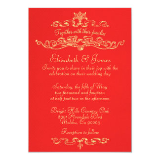 Beauteous Red And Gold Wedding Invitations As An Additional Inspiration To Create Elegant Invitation 11920164