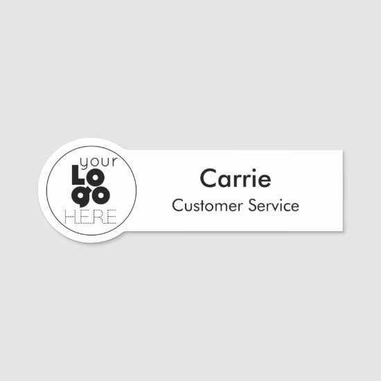 Simple Modern Employee Name Tag for Round Logo