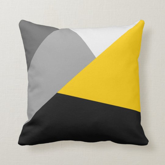 Simple Modern Gray Yellow and Black Geo Throw Pillow